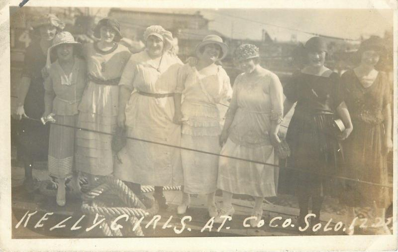 Panama~Eight Kelly Girls At Coco Solo~Hats~Flapper Dresses~1920s Real Photo~RPPC