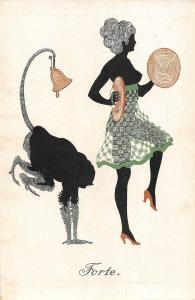 us434 forte Germany Artist signed Tanz Silhoutten Black monkey fancy dance