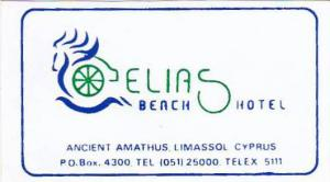 CYPRUS LIMASSOL ELIAS BEACH HOTEL VINTAGE LUGGAGE LABEL