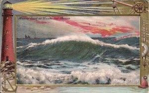 Nantasket Beach, MA, Lighthouse, Storm at Sea, 1909 Heavily Embossed, Postmark