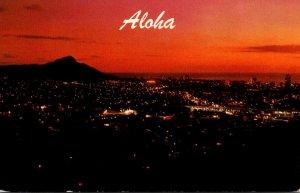 Hawaii Aloha Honlulu Waikiki and Diamond Head At Sunset 1998