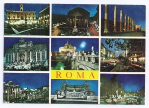 Italy Roma Multiview 9 Views at Night 4X6 Postcard