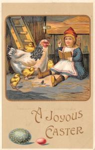 Easter~Little Girl Reads Story Book To Hen & Chicks~Ladder~Colored Eggs~Emboss