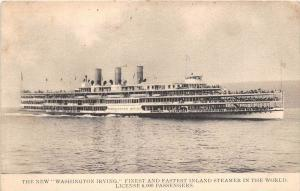 S.S. Washington Irving  Finest and Fastest Inland Steamer in the World...
