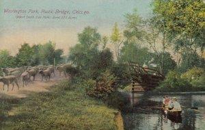 CHICAGO, Illinois, 1900-10s ; Washington Park , Rustic Bridge