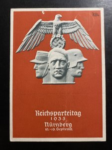 1935 Nurnberg Germany Propaganda Postcard first day cover NSDAP party rally