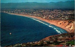 PALOS VERDES ESTES CA Aerial Birds Eye Air View BEACH Hwy Vtg Chrome Postcard