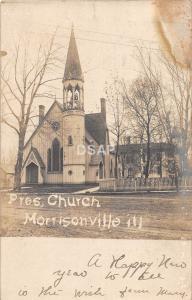 A67/ Morrisonville Illinois Il Real Photo RPPC Postcard 1906 Presbyterian Church