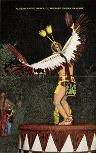 Vintage USA Linen Postcard, Famous Eagle Dance, Koshare Indian Dancers BA5