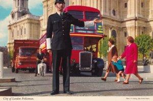 Policeman Uniform History Directing Traffic Liverpool Street Bus 1970s Postcard