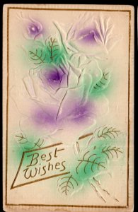 Best Wishes with Roses - Embossed - pm1911 - DB