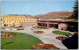 1950s SAN QUENTIN PRISON California Postcard Catholic & Protestant Chapel Garden