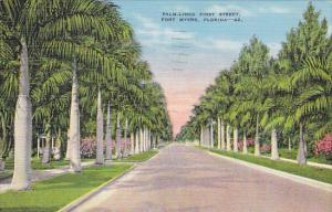 Palm Lined First Street Fort Myers Florida 1942