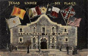 TEXAS UNDER SIX FLAGS Remember The Alamo San Antonio 1907 Vintage Postcard