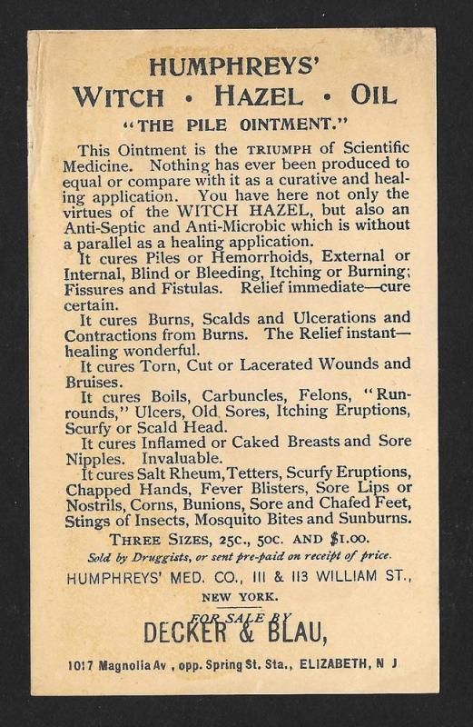 VICTORIAN TRADE CARD Humphrey's Witch Hazel Lady Long Hair
