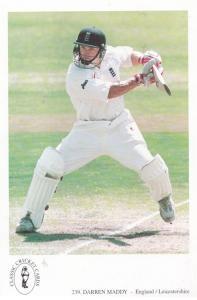 Daren Maddy Leicester English International Team Cricketer Cricket Rare Postcard