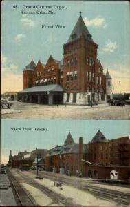 Kansas City MO Grand Central Depot Station Split-View c1910 Postcard