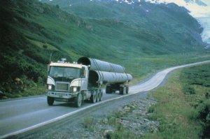 Shell Petrol Trucker Lorry in Highlands Scotland Advertising Postcard