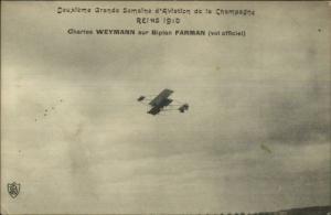 Reims 1910 Pioneer Aviation Pilot Charles Weymann Farman Biplane Airplane