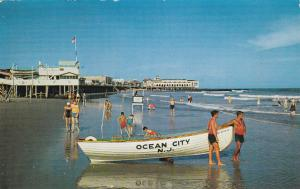 Life Guard Boat on beach , OCEAN CITY , New Jersey , PU-1956