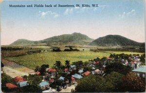 St. Kitts WI Basseterre Mountains and Fields Unused Losada Postcard F52