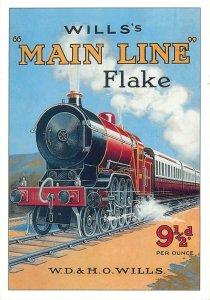 Postcard Advertising wills main line flake train railway railroad seris UK
