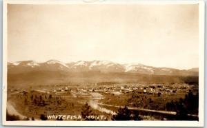 Whitefish, Montana RPPC Real Photo Postcard Bird's-Eye Panoramic Town View 1920s