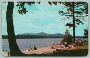 Old Forge New York~Adirondack Mountains~Bathers Relax @ First Lake Beach~1963
