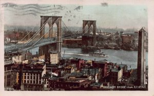 Brooklyn Bridge from New York City, Hand Color Real Photo Postcard, Used in 1910