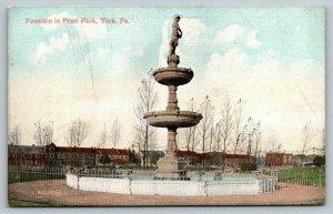 York Pennsylvania~Penn Park Fountain~Homes Apartment Houses In Background~c1910