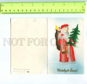 213458 POLAND merry christmas SANTA in red embossed folding