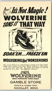 Vintage Mail Order Adv. Postcard WOLVERINE SHOES Gamble Store Nicollet MN