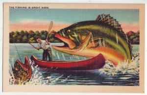 P1166 linen unused postcard large exaggerated fishing is great here