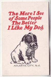 P411 JL old comic postcard the more people i see the better i like my dog