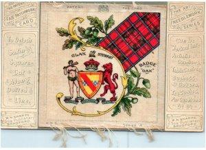 Patent Fab Card fabric satin square postcard Clan Stewart tartan heraldry badge