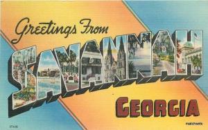 1940's Large Letters multi View Savannah Georgia postcard 10495