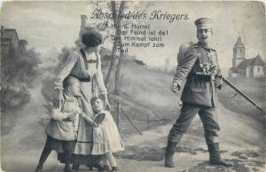 AK WWI Abschied des Kriegers departure of the military rifleman soldier`s family