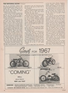 Greeves for 1967 Motorcycle 1966 Print Ad  MX3B, MX3D, TT