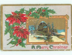 Pre-Linen christmas POINSETTIA FLOWER & BUILDING WITH WATERWHEEL k1507