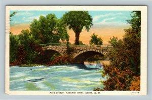 Keene NH- New Hampshire, Arch Bridge, Ashuelot River, Chrome c1953 Postcard