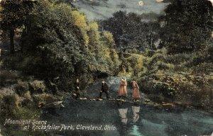 LP96  Cleveland Ohio Rockefeller Park  Postcard Moonlight Scene