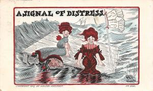 Walter Wellman Comic Pun~A Signal of Distress~Ladies on Float~Pantaloons Flag
