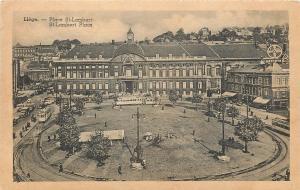 Liege Belgium~Place St-Lambert~St Lambert Place~Trams~Bayer Ad 1940 B&W