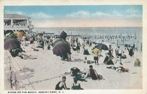 Scene On the Beach, Asbury Park, New Jersey, Early Postcard, Unused