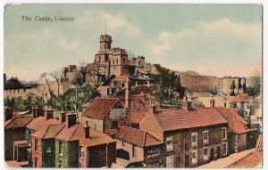 Lincoln; The Castle PPC, 1907 PMK, Shows R. Ellis Brewery on Drury Lane