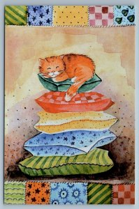 CUTE RED CAT on pillow Princess on the Pea by Bezkorovaynaya New Postcard
