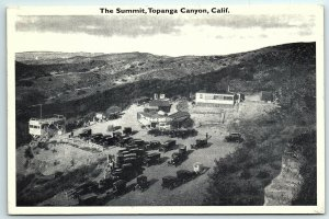 VTG Postcard CA California Topanga Canyon Summit Old Cars Valley Aerial Birds A5