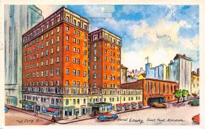 St Paul Minnesota~Hotel Lowry~Ted Lewy Watercolor Artist~1958 Postcard