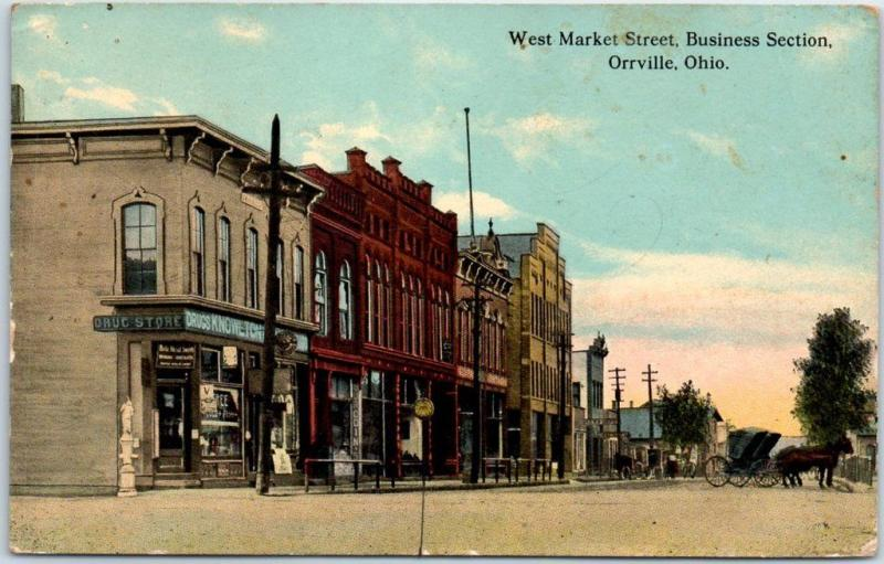 Orrville, Ohio Postcard West Market Street, Business Section 1912 Cancel
