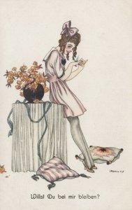 ART DECO ; Female wearing short pale pink sailor dress, 1910-20s